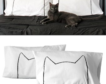 Cat Lover Gift, Cat Bed, Cat Pillow Case Set, cat lady, couples pillows, cat throw pillows, funny gift,  cat men, cat dad, gift for him