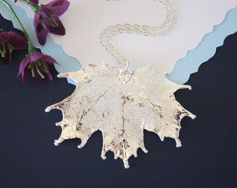Real Sugar Maple Leaf, Real Silver Leaf, Maple Leaf Necklace, Canadian Leaf, Sterling Silver, LC79
