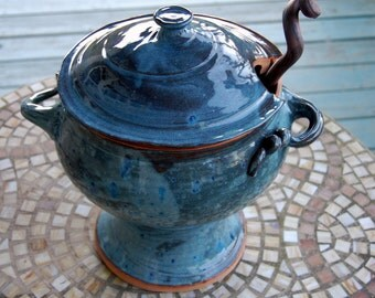 Lidded Soup Tureen or Punch Bowl Set with Laddle in Slate Blue