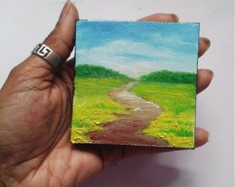 "Mini Oil Painting Landscape Pathway Grass Trees 3""x 3"" READY to SHIP"