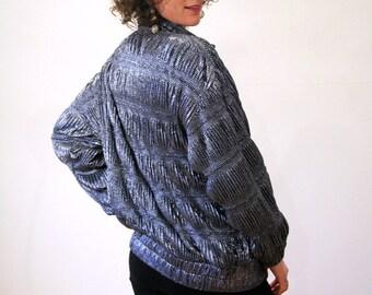 Silver Bomber Jacket, 80s Bomber Jacket, Vintage Metallic Jacket, Glam Diva, Zip Front Bomber M L