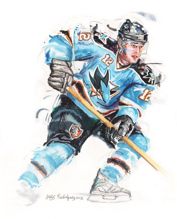 Watercolor portrait painting of San Jose Sharks Hockey Player Patrick Marleau