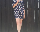 Boho Mini Dress // Bohemian Tunic // Hippie 70s Clothing // Novelty Print // Floral // Oversized Micro Mini // XS Dress