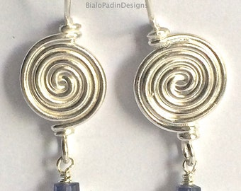 Mycenaean Spiral Earrings: Iolite and Pearl
