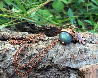 Labradorite and Copper Acorn Necklace
