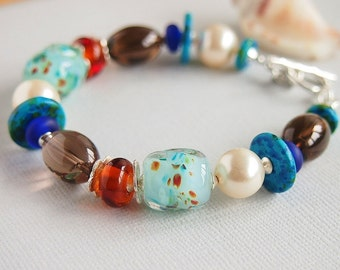 Colourful Bracelet, Turquoise,Artisan Lampwork, Beaded Bracelet, Smoky Quartz, Swarovski, Pearls, Greek Ceramic, Sterling Silver - BIJOUX