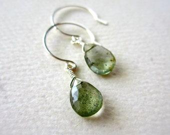 Freckles Petite Earrings - moss aquamarine earrings, march birthstone earrings, handmade aquamarine jewelry, DE08