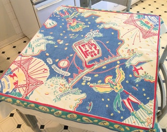 Vintage Souvenir Tablecloth 1939 San Francisco Expo World's Fair Treasure Island