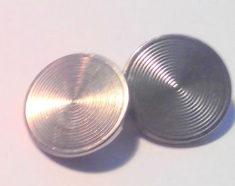 Vintage CUFFLINKS - Round pair of Silver Plated - 1950 - Trademark DIAL - Circle pattern - back chain- very good condition- free shipping