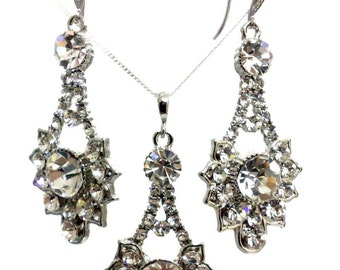 Gatsby Wedding Jewelry Set, Art Deco Wedding Earrings, Swarovski Bridal Necklace, Dangle Bridal Earrings, Crystal Bridal Jewelry, RAYS