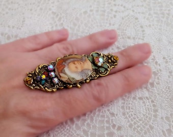 Marie Antoinette ring, adjustable ring cameo ring, cocktail ring, floral statement ring, Swarovski crystal antique brass ring, gift for her