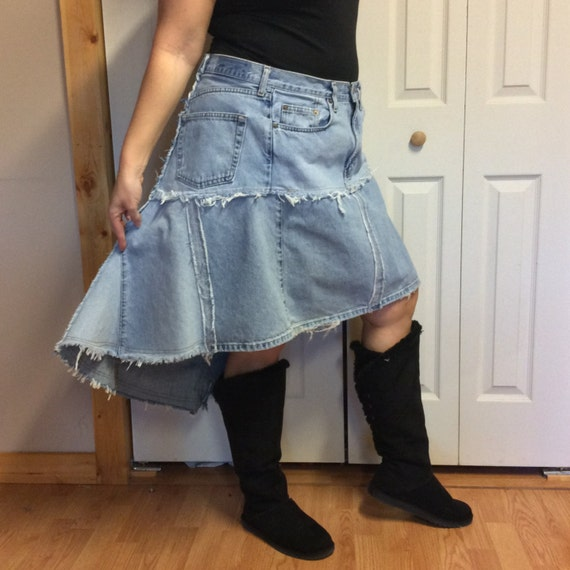 2xl hi low jean skirt plus size skirt upcycled denim by