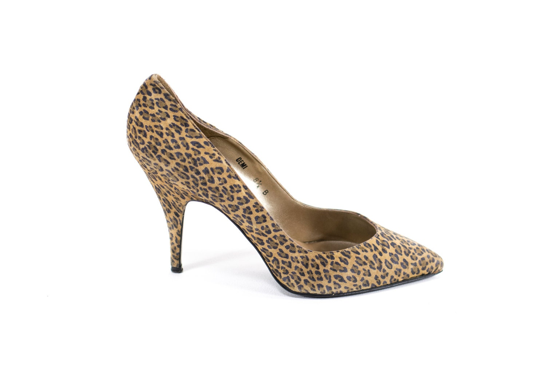 Cheetah Print Leather Heels Vintage 80s Leopard Animal Pattern