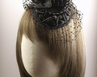 Victorian Mourning Style Fascinator with Hair Braids & Chains