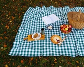 Picnic Blanket- Forest Green Gingham- Waterproof Picnic Blanket- Classic Gift
