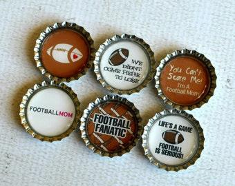 Football Mom Bottlecap Magnets- Football Love Magnets- Proud Football Mom- 6 Strong Bottlecap Magnets- Gift for Mom