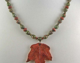 Red Maple Leaf necklace | polymer clay leaf on beaded necklace | botanical jewelry