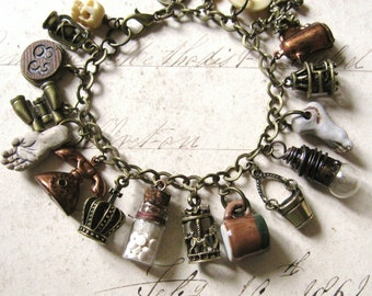 Everything But - Handmade Antiqued Brass and Vintage Charm Bohemian Gypsy Bracelet - Gift Box