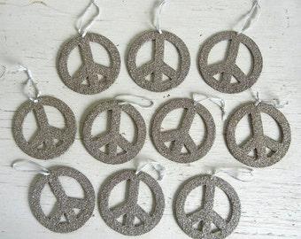 Glitter Peace Signs | Supplies | Ornament | Silver Glitter Peace Symbol