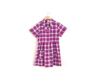 SALE // Size S/M // PLAID BABYDOLL Shirtdress // Fuchsia - Cotton Mini Dress - Button-Front - Short Sleeve - Vintage '90s.