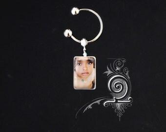 Horseshoe photo portrait Custom Tile Keychain