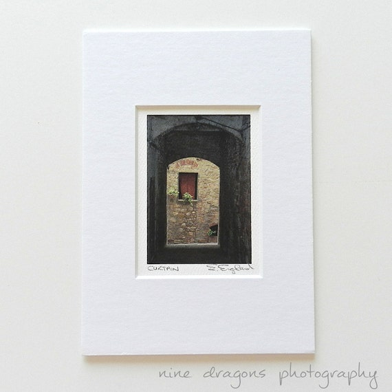 Small Art Matted,Rustic Wall Decor,Italian Photography,Italian Window Travel Photography,Old Stone Walls,Tuscany Italy Print,Rustic Wall Art