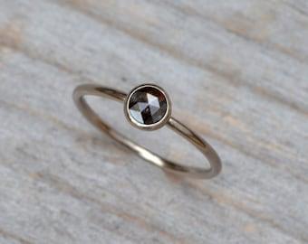 Rose Cut Diamond Engagement Ring Set In 18ct White Gold, Black Diamond Stacking Ring Handmade In England