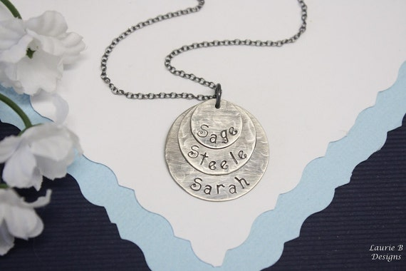 Mother Necklace Personalized, 3 Blessings Brushed Textured Sterling Silver, Three Children, Mothers Day Gift