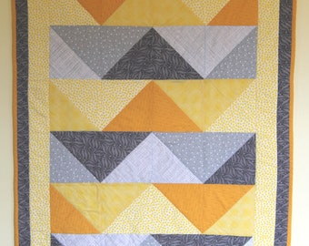 Yellow and Grey Chevron + Modern Baby Quilt