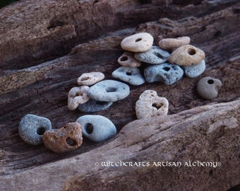 ODIN STONE Great Mother Witch *Treasure Coast* Holey Hag Stone Amulet for Old European Witchcraft, Rites Involving Visions, Rune Sorcery