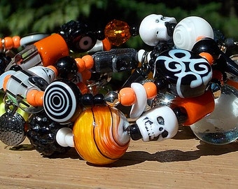 Halloween wrap bracelet skull bracelet spike bracelet memory wire bracelet double wrap bracelet spike bracelet rocker bracelet black orange