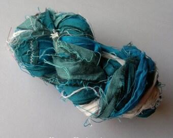Recycled Sari Yarn, Silk Ribbons, Handspun Yarn, Recycled Silk, Sari Silk Ribbon, Handmade Fair Trade Silk Ribbon Yarn, Recycled Sari Yarn
