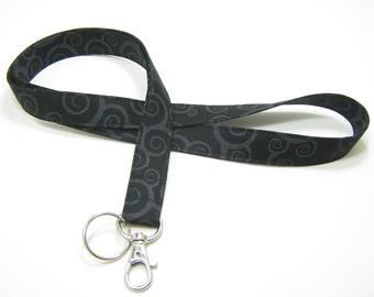 Fabric Lanyard, Breakaway Lanyard Option, Neck Lanyard, Black & Grey Lanyard, Fashion Lanyard, Key Lanyard
