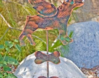 Rottweiler / Outdoor Metal Art / Copper Art / Pet Memorial / Garden Art / Stake /  Angel Decoration / Dog Sculpture / Animal Silhouette