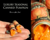 One Luxury New Season Gourmet Halloween Canned Pumpkin  - Artisan fully Handmade Miniature Dollhouse Food in 12th scale.