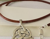 """Necklace-Unisex-Celtic Pendant-Unity-Circle Trinity Symbol-Mind-Body-Spirit-Joining of Three-20""""-Men's Jewelry Light Brown Leather Cord"""