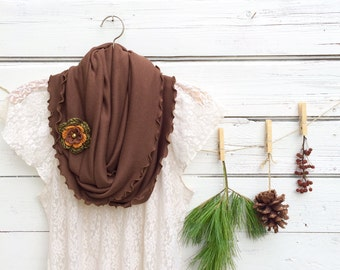 Scarf with Flower Pin, Infinity Scarf, Brown Scarf, Circle Scarf, Scarf with Flower Brooch, Fall Scarf, Gift for Her, Jersey Scarf