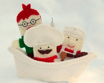 Rub-A-Dub-Dub Three Men in a Tub finger puppet, Rub-a-dub-dub finger puppet, candle stick maker puppet, butcher puppet, baker puppet, puppet