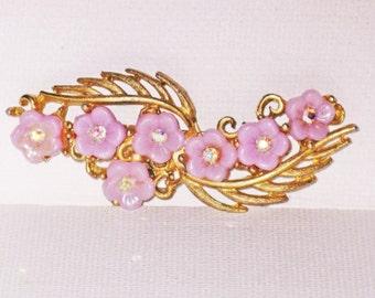 Vintage Lilac Floral Brooch Pin (B-4-5)