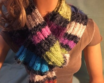 Angel Hair Super Soft Striped Black, Pink, Green, Purples, Orange, White Tan & Blues Scarf Handknitted