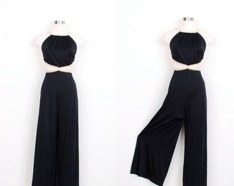 Vintage 1970s Jumpsuit  / 70s Wide Leg Metallic Jumpsuit / Black and White (small S)