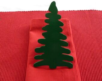 Green Christmas Tree Napkin Rings - Set of 4