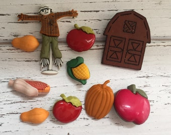 "Fall Themed Buttons, Packaged Novelty Buttons by Buttons Galore,""Autumn Harvest"" Style 4622, Includes Scarecrow, Pumpkin, Apples, Corn, Barn"