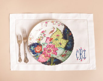 Hemstitched White Linen Placemats with Standard Monogram