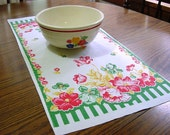 Vintage 40s Kitchen Dish Towel - Floral Garden on Fence - Tulip, Iris, Poppy, Hibiscus, Lily Red Pink Yellow Green -Cotton Linen Collectible