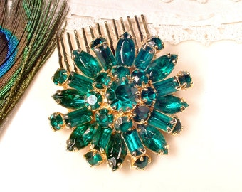 Emerald Bridal Hair Comb OR Sash Brooch Green Rhinestone Gold, Round Vintage Wedding Marquise Crystal Dress Pin / OOAK Hair Accessory 1950s