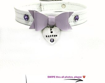 BDSM DDLG Kitten Play Collar White Leather with Lilac Bow, Swarovski Crystal Engraved Rhinestones Buckle Closure