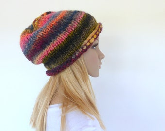 Chunky knit hat  Slouchy Beanie  Earthy Knit Hat   Knit slouch hat   Colorful Women hat   Winter hat