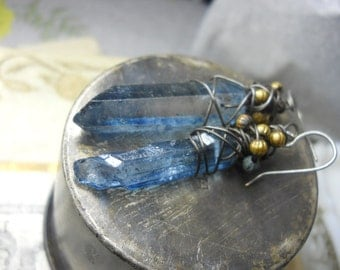 Rustic Wire & Quartz Assemblage Earrings - Ice Blue Crystal Points, Steel Wrap, Vintage Gold Metal Fluted Beads - Grungy Glam
