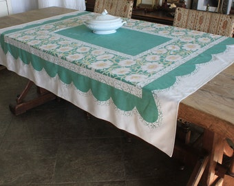 Vintage Mid Century Tablecloth with White Flowers on Green